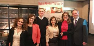 This picture shows Matrix Rhythm Therapy Team in the United Kingdom with Sema Randoll and Dr Ulrich Randoll